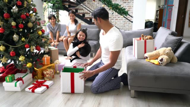 flicka öppna en stor julklapp kramas hennes pappa och ta ut en vacker svart katt - christmas gift family bildbanksvideor och videomaterial från bakom kulisserna