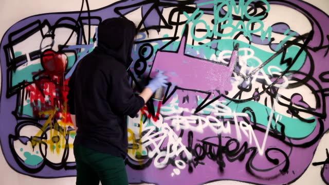 mädchen malen graffiti fuchs - zeitraffer fast motion stock-videos und b-roll-filmmaterial