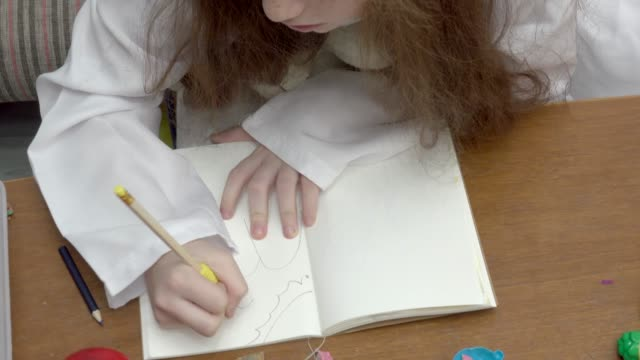 Girl Play Drawing Landscape video