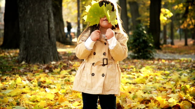 Girl playing with autumn leaves video