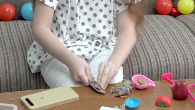 Girl Playing With Clay video