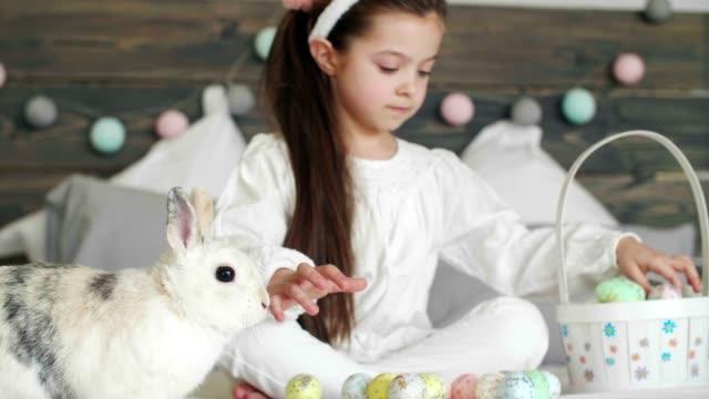 mädchen mit kaninchen und ostereiern auf dem bett - osterhase stock-videos und b-roll-filmmaterial