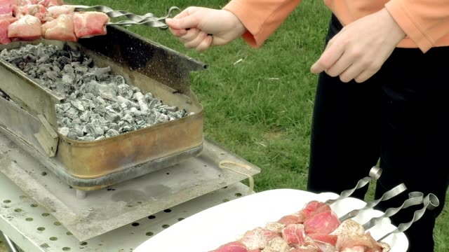 Girl puts barbecue skewers with meat on brazier video