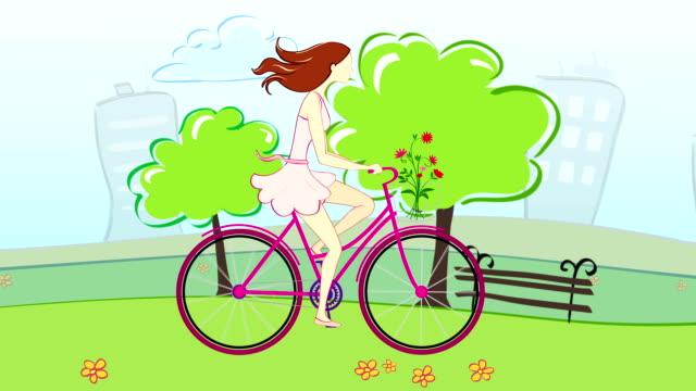 Girl riding a city Bike video