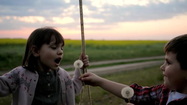 Girl riding on swing Blow Dandelion, Portrait Cute Female child blowing In Blowball Flower, Beautiful smiling Little Kid Girl Play video