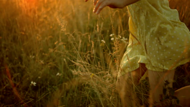 LA TS SLO MO Girl Running In The Meadow HD1080p: MEDIUM LOW ANGLE TRACKING SLOW MOTION shot of a little girl running in the grass at the sunset. Profile view. grass area stock videos & royalty-free footage