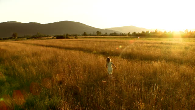 AERIAL Girl Running In The Sunset HD1080p: AERIAL shot of a little blond girl running in the grass in the sunset. Rear view. grass area stock videos & royalty-free footage