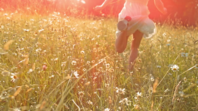 SLO MO TS Girl running through high grass in sunshine video