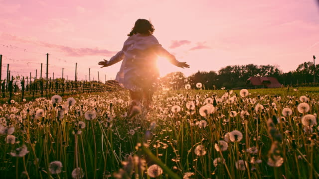 SLO MO LA TS Girl running through the meadow full of dandelions at sunset