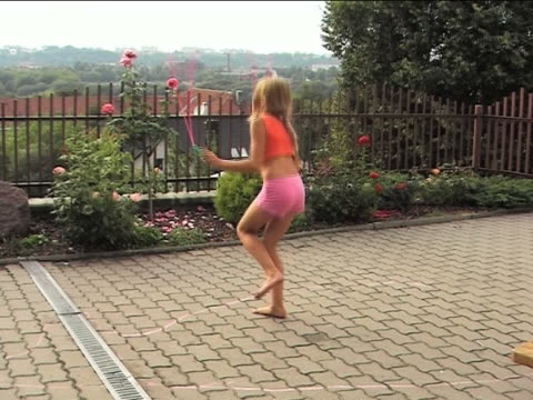 girl skipping rope - young singles stock videos and b-roll footage