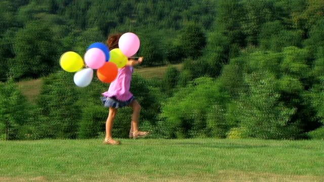 Girl Skipping with Balloons video