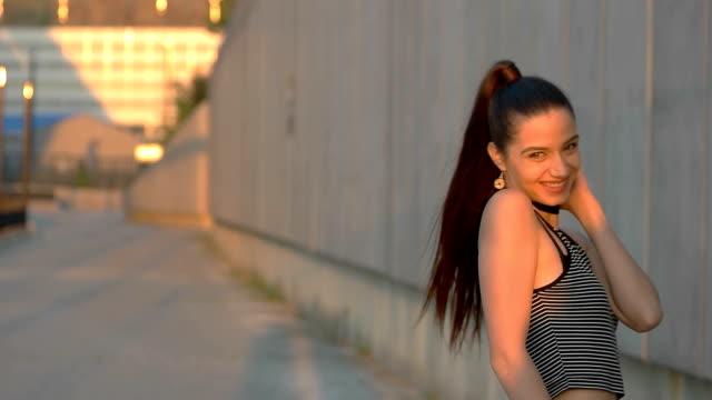 Girl smiling at camera. video