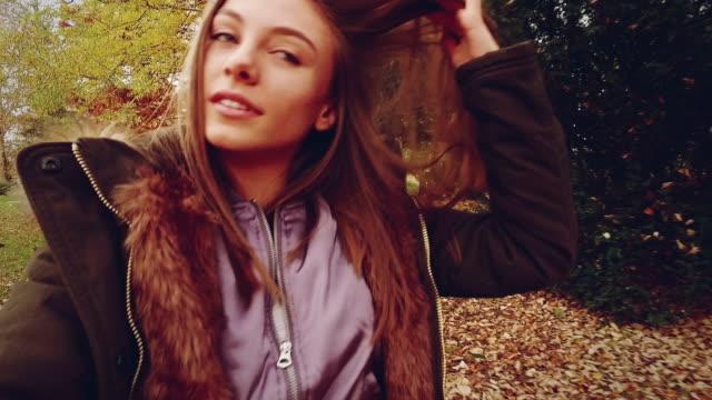Girl smiling. Slow motion video