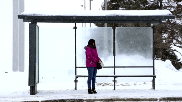 A girl stands at the bus stop in winter A girl stands at the bus stop in winter, she's waiting for the bus, it's snowing bus stop stock videos & royalty-free footage