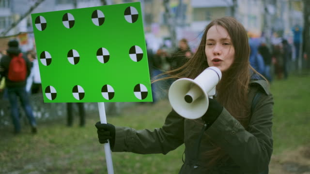 Girl strike empty banner copy space. Fight protest. Scream angry young woman. video