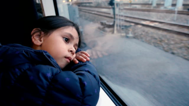 A girl Thinking On The Train - video