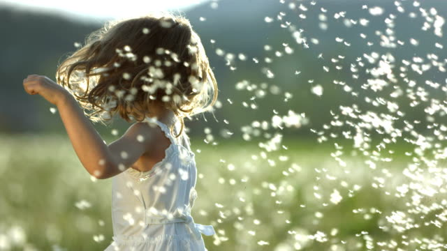 SUPER SLO-MO Girl Twirling With Dandelion Seeds