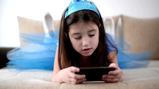 Girl using phone video
