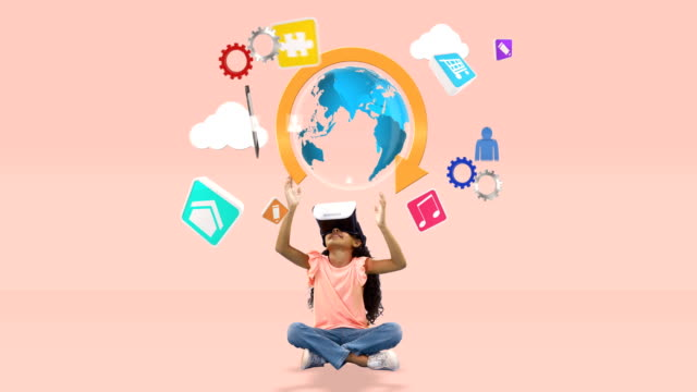 girl using virtual reality headset with digitally generated icons 4k - pesche bambino video stock e b–roll