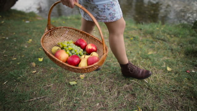 Girl walking with fruit basket