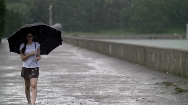 girl walks in rainy weather under an umbrella down the street alone