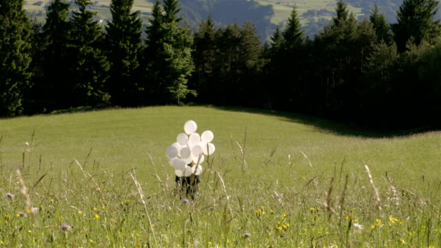 Girl walks with balloons in a field video