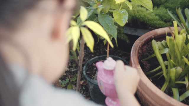 Girl Watering Plants in the Garden Little Girl Watering Plants in a the Garden with a Toy Teapot potted plant stock videos & royalty-free footage