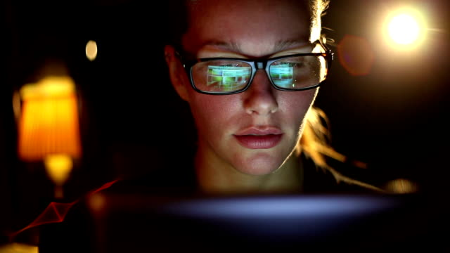 Girl With Glasses Using Tablet Close Up video