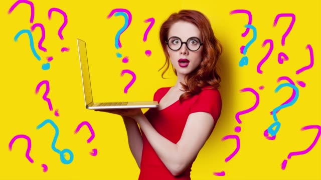 Girl with laptop and question marks video