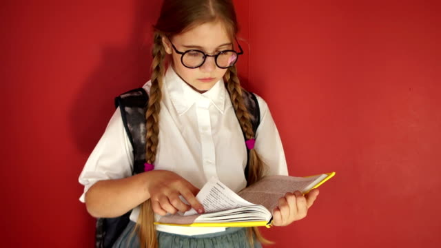 Girl with pigtails reading a textbook in the school hallway.