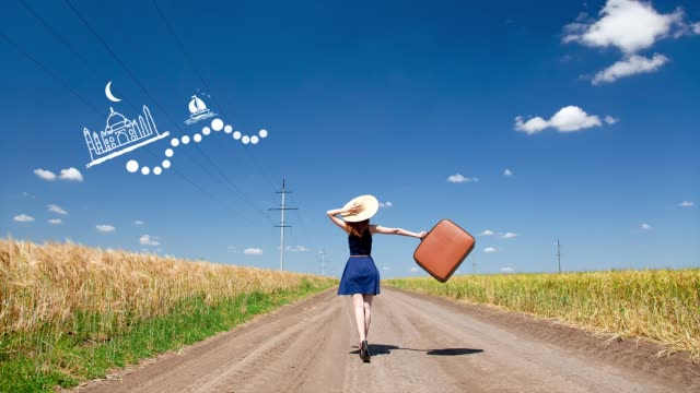 girl with suitcase and travel route video