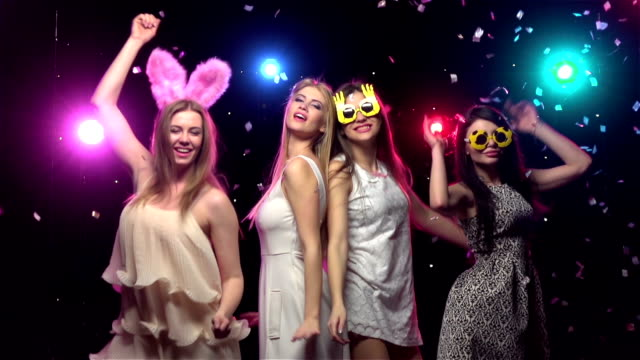 girls at bachelorette party dancing and having fun. slow motion - bachelorette party stock videos and b-roll footage