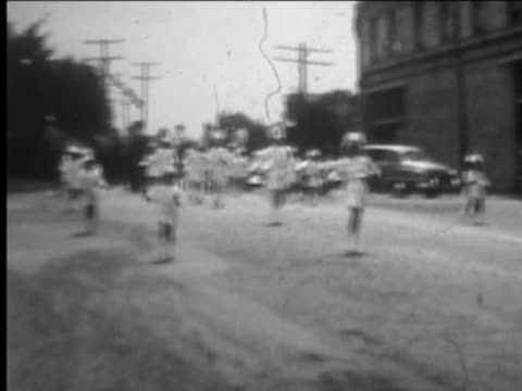 Girls baton group at parade--From 1950's film