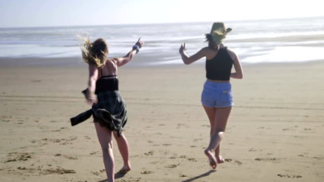 Girls dance at beach video