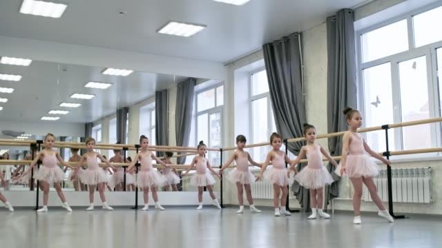 バレエのクラスでプリエをしている女の子 - チュール生地点の映像素材/bロール