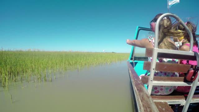 Girls enjoying ride speed boat at the wild outdoors 4k