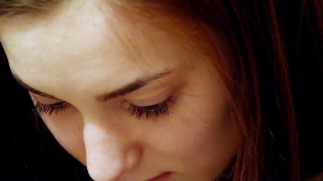 Girl's face closeup video
