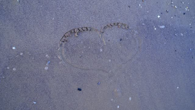 Girls hand draws a heart sign on a coastal sand, a holiday romance metaphor