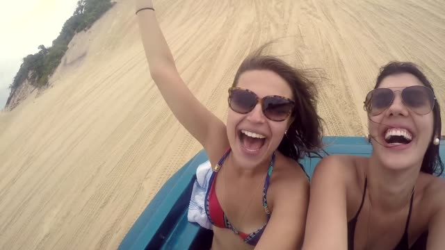 Girls Having Fun in the Buggy in Natal, Rio Grande do Norte, Brazil video