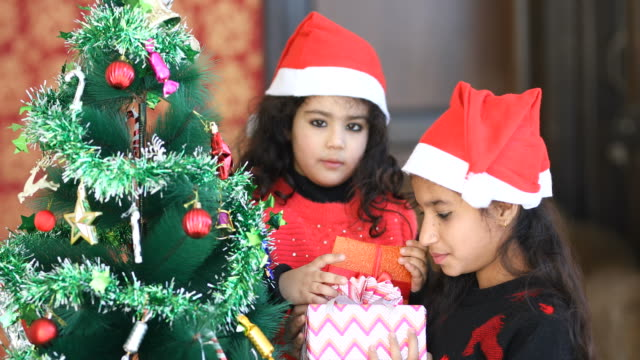 Girls holding Christmas present