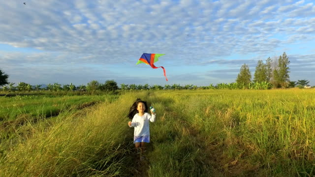 Girls playing kite in the middle of the field.