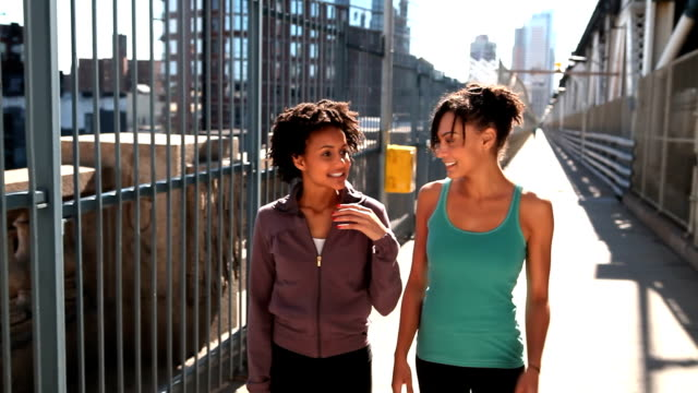 Girls walk and talk after a run video