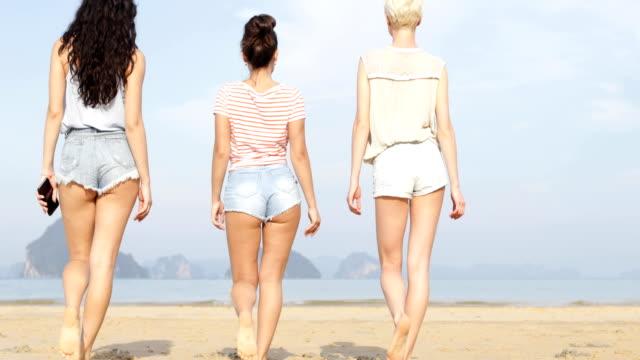 girls walking on beach back rear view, young women group wearing shorts - pantaloncini video stock e b–roll