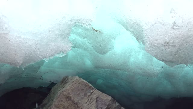 Glacial ice, snowmelt, ice water, melt water, snow water, change in the climate, alps, bavaria, allgäu, 4K video