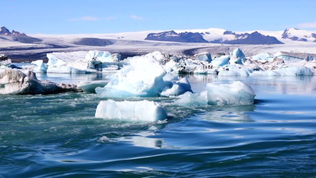 Glacial lake Jokulsarlon in Iceland Amazing view of floating icebergs in the glacial lake Jokulsarlon on the background of clear blue sky, Iceland icecap stock videos & royalty-free footage