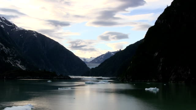 Glacier and icebergs in Alaska at Tracy Arm Fjord. video