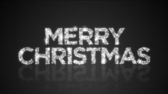 Glamorous Monocrhomatic MERRY CHRISTMAS sign Looping Background With Matte video