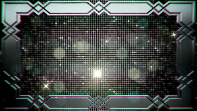 Glamorous Sparkling Sequins in a Silver Border Frame with Flare Lights and Particles Background video