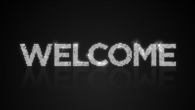 Glamorous WELCOME type background looping animation video