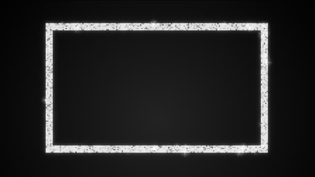 Glamour Shimmering Rectangle Box Loop with Matte A 12 second looping animation of A sparkling 16:9 ratio rectangle shape over black background and included alpha matte. sequin stock videos & royalty-free footage